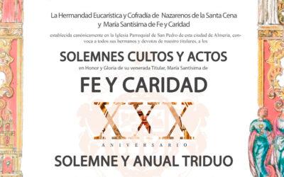 Solemne Triduo en honor a María Santísima de Fe y Caridad 2020